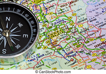 Putrajaya, Malaysia in the map with a simple compass on it