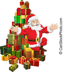 Santa sitting on a pile of gifts waving