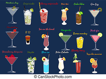 Coctails set - Set of different kind of alcoholic coctails