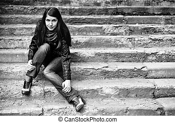 A woman on stairs
