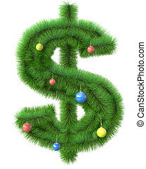 Dollar symbol made of christmas tree branches