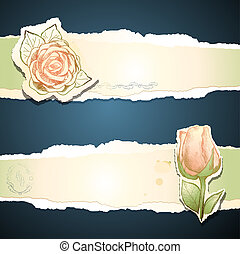 Vintage banner with rose, vector