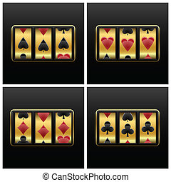 playing cards slot machine against white background,...