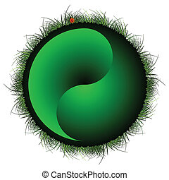 yin yang sphere with grass and ladybug against white...