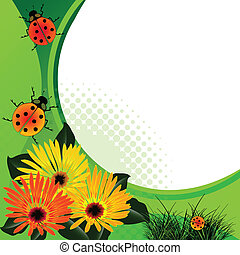 ladybugs over abstract floral background, vector art...