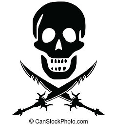 pirate skull with swords - pirate skul and swords against...
