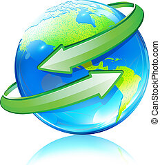 Glossy Earth Map Globe - Vector illustration of Glossy Earth...