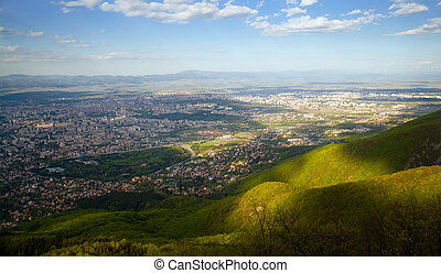 bulgarian capital panorama - panorama over the town of Sofia