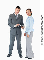 Business team with clipboard against a white background -...