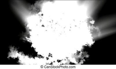goldmine Explosion and dazzling white rays laser light,the...