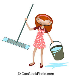 Cleaner - Illustration of a cleaner with a mop and bucket