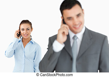 Young business partners on the phone
