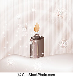vector candle on winter background with snowflakes and stars