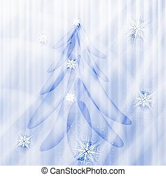 vector fir tree on winter background with snowflakes and stars