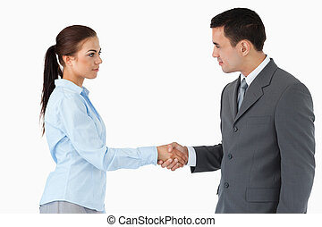 Business partners shaking hands against a white background