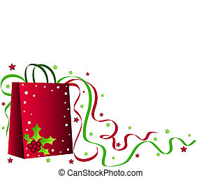 Shopping bag - Christmas holly shopping bag