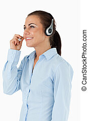 Side view of female call center agent