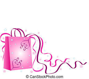 Pink shopping bag with ribbons