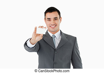 Businessman showing his businesscard