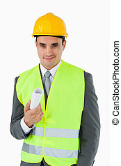 Architect with construction plan