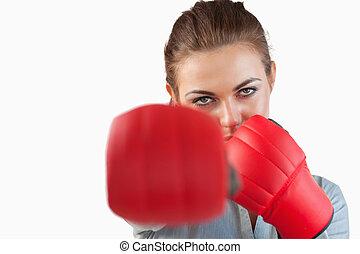 fim, cima, executiva, golpear, boxe, luvas
