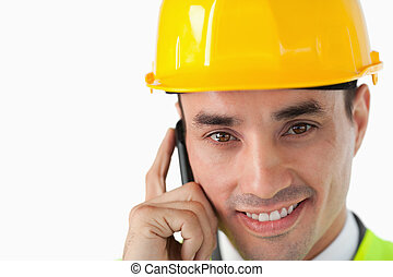 Close up of architect on the phone