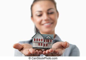 fim, cima, miniatura, casa, sendo, segurado, femininas,...