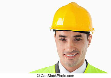 Close up of architect with helmet on