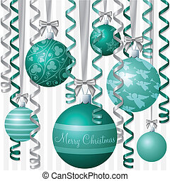 Baubles - Aqua ribbon and bauble inspired Christmas card in...