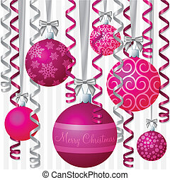 Baubles - Pink ribbon and bauble inspired Christmas card in...