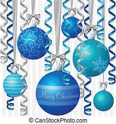 Baubles! - Blue ribbon and bauble inspired Christmas card in...
