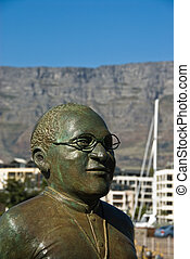 Archbishop Desmond Tutu - A close up on the statue of...