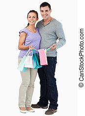 Young couple with their shopping