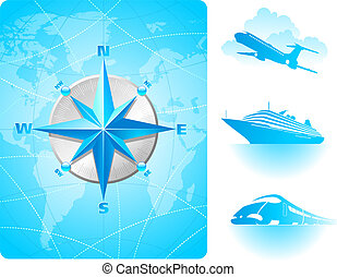 Compass rose on a world map background and contemporary...