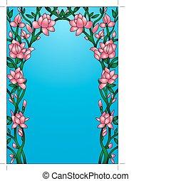 frame background with flowering flower - illustration frame...