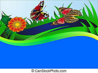 background with butterfly flower and water - illustration...