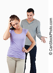 Young female disappointed with her boyfriend