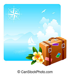 Travel suitcase and tropical flowers against an idyllic...