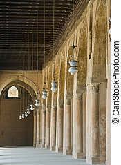 Vanishing point - The view of a covered walkway in temple...