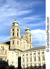 Historic church in Linz - Historic building in the center of...