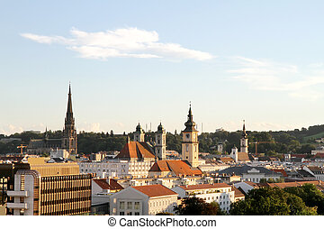 Sunset over Linz - View over the city of Linz, Austria,...