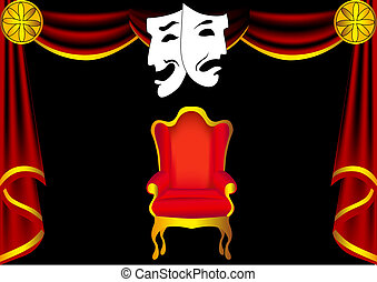 scene theater with curtain by chair and mask - illustration...