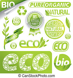 Vector set of eco signs, labels, emblems and logo - Vector...