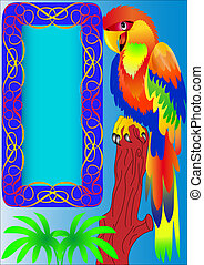 frame and parrot sitting on tree - illustration frame and...