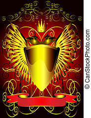 background with shield eagle and tape