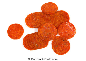 Pepperoni sausage - Slices of pepperoni sausage,Isolated on...