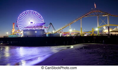 Santa Monica Pier, Time Lapse - Nighttime time lapse, Santa...
