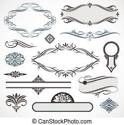 Calligraphic design elements and page - Vector set of...