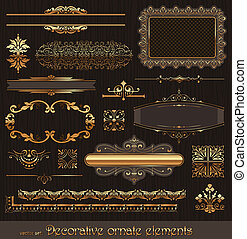 Golden ornate page decor elements - Vector set of golden...