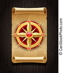 Vector golden compass rose & vintage map on a dark wooden board